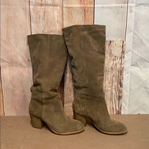 Crevo Atty knee high relaxed leather boot taupe